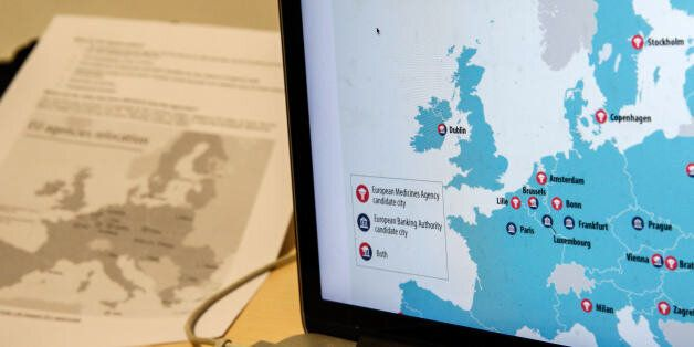 A laptop displays a map of candidate city locations for the relocation of the European Banking Authority...