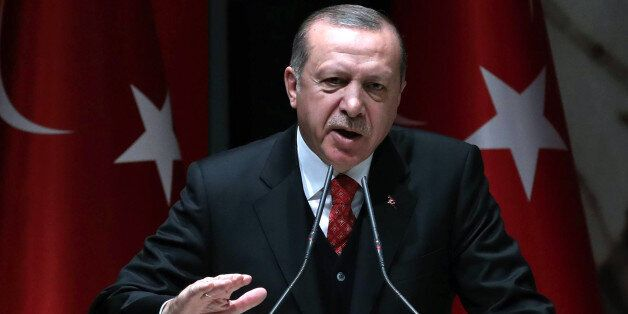 Turkish President Recep Tayyip Erdogan speaks during the Justice and Development (AK) Party's provincial...