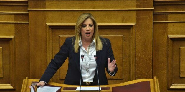HELLENIC PARLIAMENT, ATHENS, ATTIKI, GREECE - 2017/04/12: Fofi Genimata leader of Democratic Coalition...