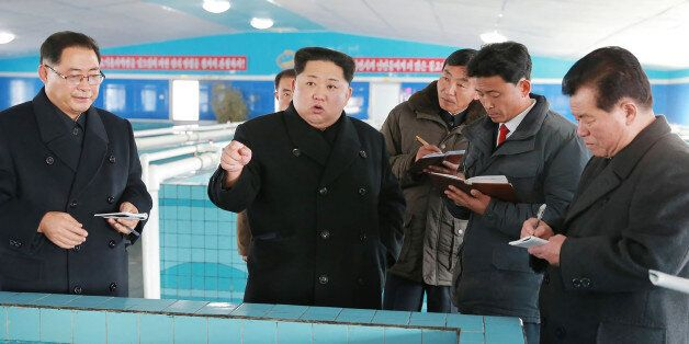 This undated photo released by North Korea's official Korean Central News Agency (KCNA) on November 28,...