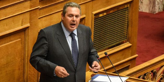 Panos Kammenos, chairman Independent Greeks, Minister of Defense speaks during parliamentary dispute...