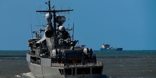 Argentina's Navy destroyer ARA Sarandi sails off to take part in the search of missing submarine ARA...
