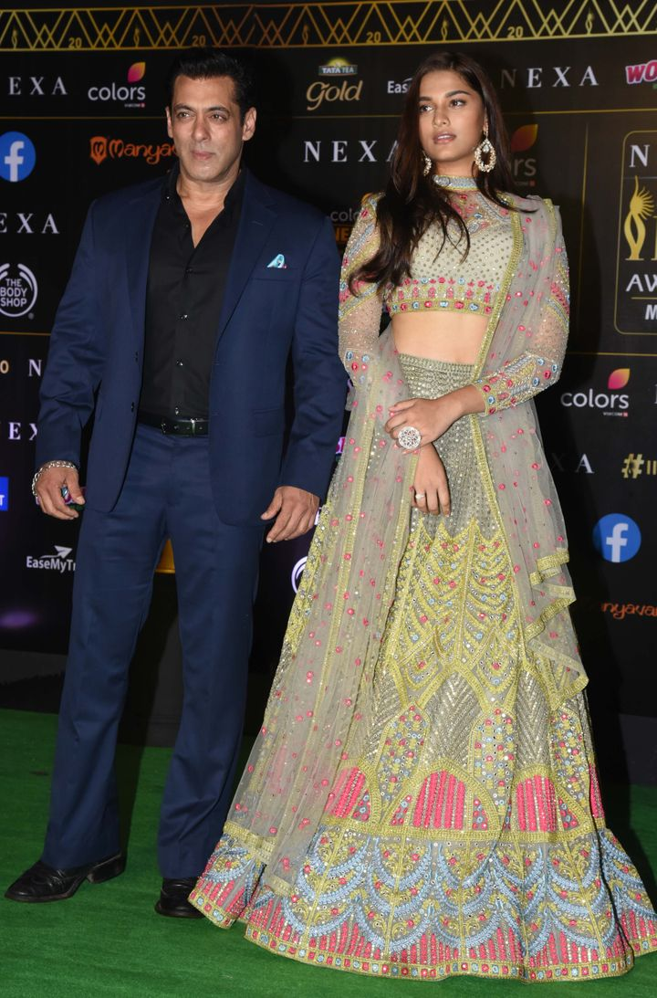 Salman Khan and Saiee Manjrekar at IIFA Awards.
