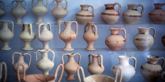 GREECE - AUGUST 29: Vases from the Palace of Nestor, Pylos, Messinia, Greece. Mycenaean civilisation....