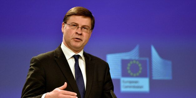 European Commission Vice-President for the Euro and Social Dialogue Valdis Dombrovskis holds a news conference...