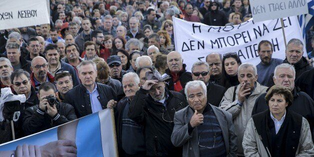 LESBOS ISLAND, GREECE - NOVEMBER 20: Workers and other civilians stage a protest, organized to show their...