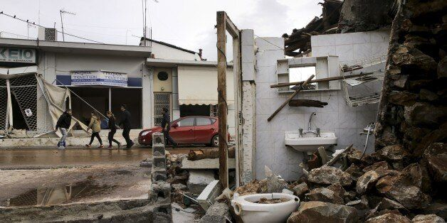 ATHENS, GREECE - NOVEMBER 16: A view of destroyed houses are seen after torrential rains struck the west...