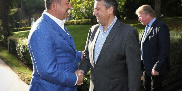 ANTALYA, TURKEY - NOVEMBER 4: Turkish Foreign Minister Mevlut Cavusoglu meets German Foreign Minister...