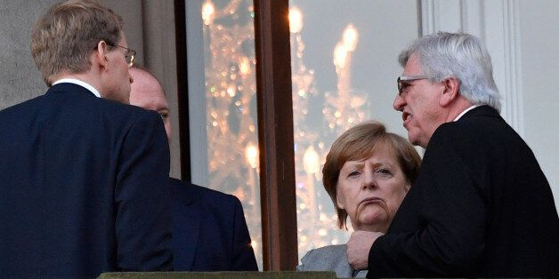 (R-L) State Premier for the state of Hesse, CDU's Volker Bouffier, German Chancellor Angela Merkel, Christian...