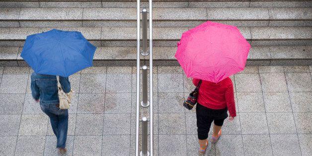 First autumn rainy days in Athens Syntagma