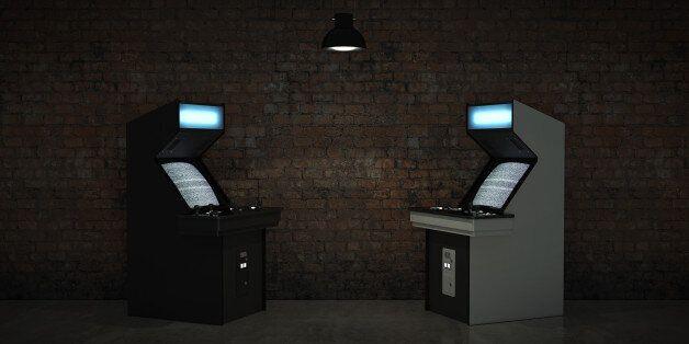 vintage arcade game machine. 3d