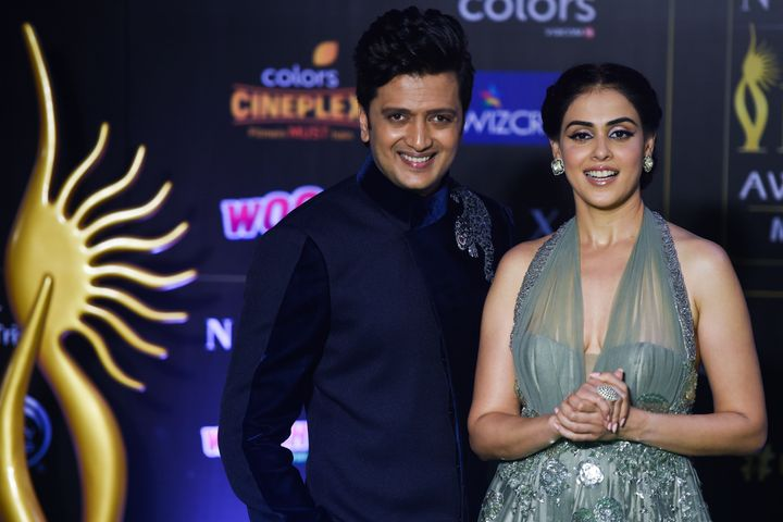 Ritesh Deshmukh with his wife, actress Genelia D'Souza.