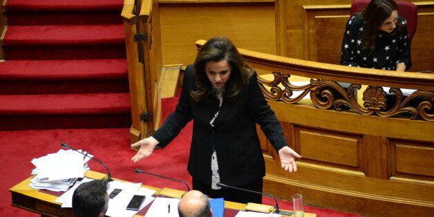 GREEK PARLIAMENT, ATHENS, GREECE - 2015/12/15: Dora Bakoyanni, deputy of 'New Democracy' party is addressing...