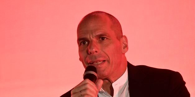 Former Greek minister of finance Yanis Varoufakis delivers a speech during the presentation of his new...
