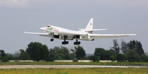 MOSCOW REGION, RUSSIA - JULY 15, 2017: A Tupolev Tu-160 strategic bomber of the Russian Air Force's long-range...