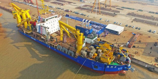 This photo taken on November 3, 2017 shows the ship 'Tian Kun Hao' being launched at a port in Qidong...