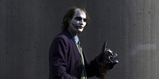 A man dressed as The Joker