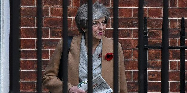 LONDON, ENGLAND - NOVEMBER 09: British Prime Minster Theresa May leaving the back door of No10 Downing...