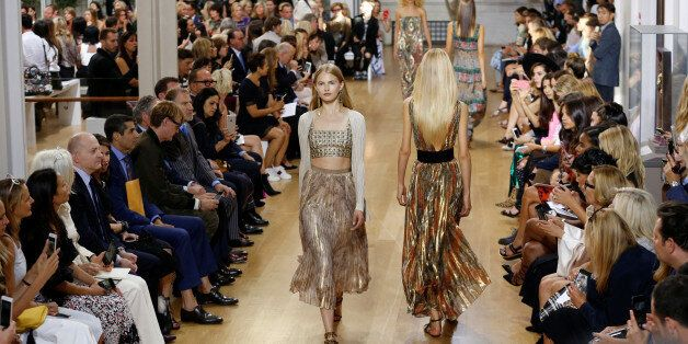 Models present creations from the Oscar de la Renta Spring/Summer 2017 collection during New York Fashion...