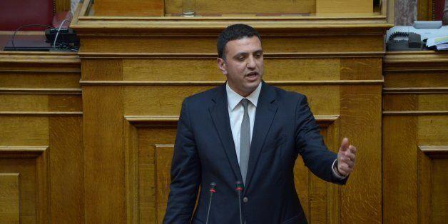 ATHENS, GREECE - 2015/04/17: p with New Democracy Vassilis Kikilias talks to the Greek parliament. Greek...