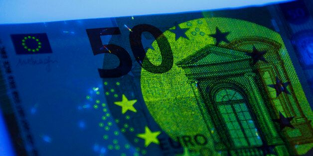 Security features of the new 50 euro banknote are shown during it's presentation by the German Bundesbank...
