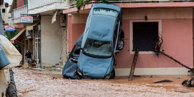 Floods in the town of Mandra, northwest of Athens, Attica, Greece on November 15, 2017, after heavy overnight...