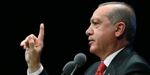 ANKARA, TURKEY - NOVEMBER 10 : Turkish President Recep Tayyip Erdogan speaks at the commemoration ceremony...