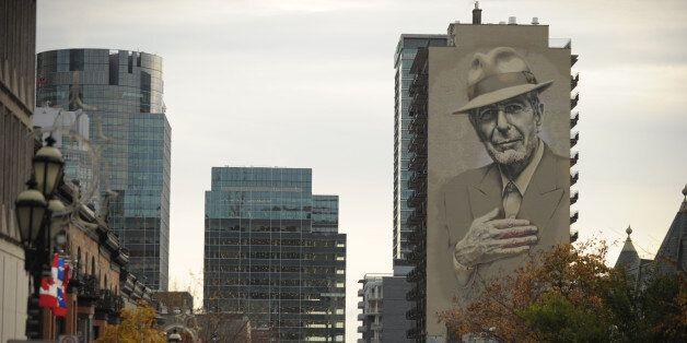A mural of musician Leonard Cohen is seen on a building on November 7, 2017 in downtown Montreal.Leonard...