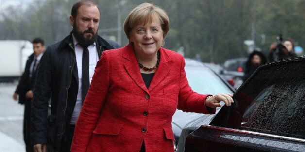 BERLIN, GERMANY - NOVEMBER 01: German Chancellor Angela Merkel arrives for another day of coalition negotiations...