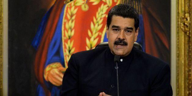 Venezuelan President Nicolas Maduro speaks during a press conference with international media correspondents...