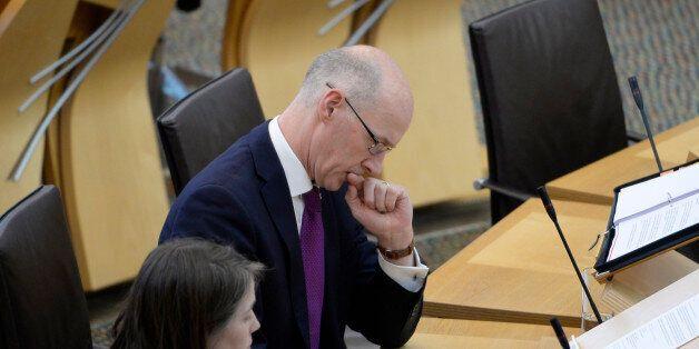 EDINBURGH, SCOTLAND - SEPTEMBER 26: Scotland's Deputy First Minister John Swinney prepares to update...