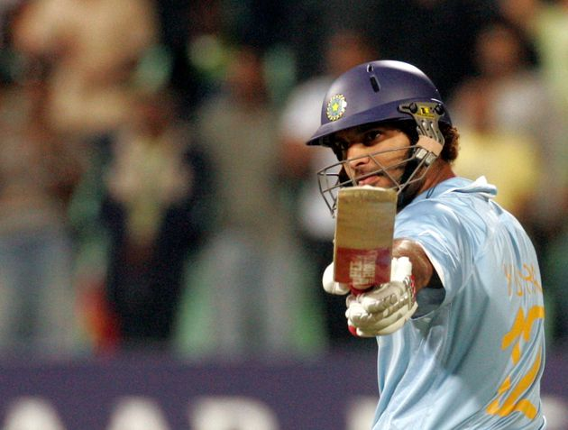 Yuvraj Singh after he hit six sixes in an over by England's Stuart Broad during their ICC World Twenty20...