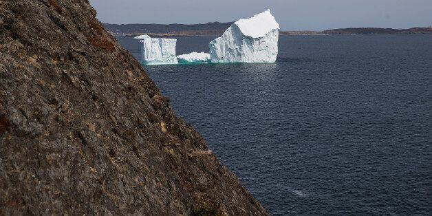 PORT KIRWAN, NEWFOUNDLAND - APRIL 26: An iceberg floats in the Atlantic Ocean, April 26, 2017 off the...
