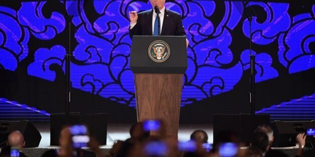 US President Donald Trump speaks on the final day of the APEC CEO Summit, part of the broader Asia-Pacific...
