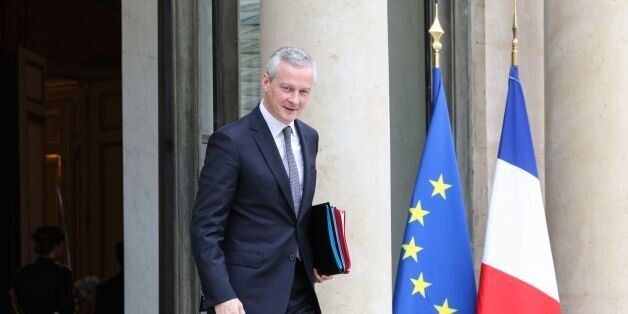 French Economy Minister Bruno Le Maire leaves the Elysee Presidential Palace after the weekly cabinet...