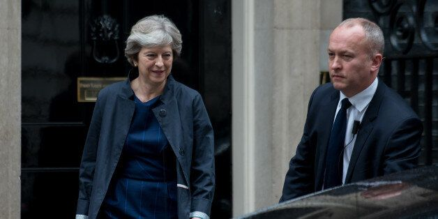 British Prime Minister Theresa May leaves Number 10 Downing Street, London on October 19, 2017. Prime...