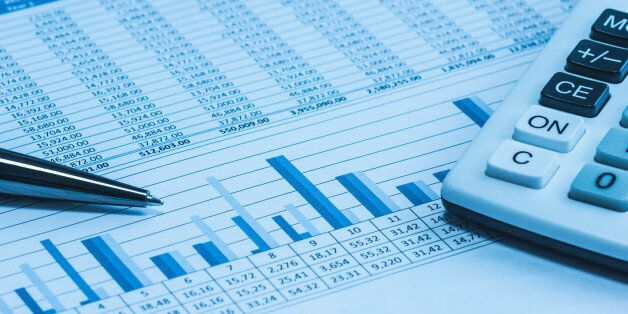 Accounting financial papers analysis charts with calculator, paper and pen in