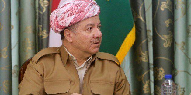 SULAYMANIYAH, IRAQ - OCTOBER 15: Kurdish Regional Government (KRG) President Masoud Barzani and President...