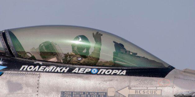 LGTG - TANAGRA AIRPORT, TANAGRA, ATTIKA, GREECE - 2016/09/18: HAF Demo Team Zeus Falcon F-16 Block 52+during...