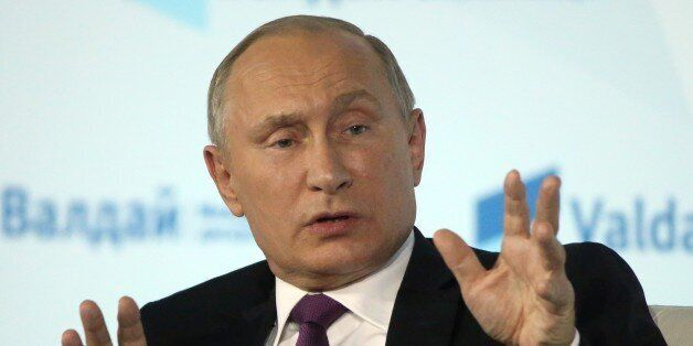 SOCHI, RUSSIA - OCTOBER,19 (RUSSIA OUT) Russian President Vladimir Putin speeches during his meeting...