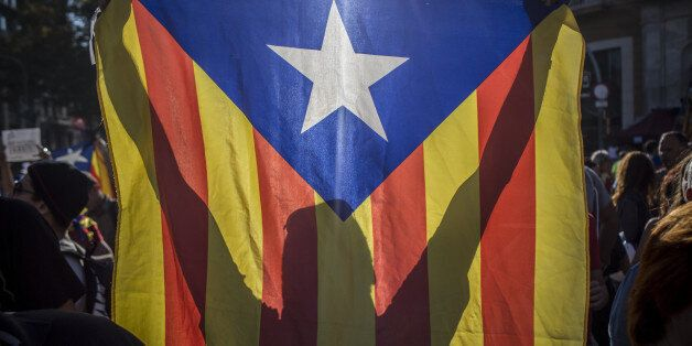 A protester holds a Catalan flag, also known as the Senyera, during a demonstration against the Spanish...