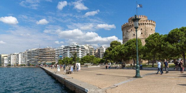 Thessaloniki, Greece - September 30, 2017: Amazing view of White Tower in city of Thessaloniki, Central...
