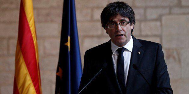 BARCELONA, SPAIN - OCTOBER 26 : Catalan regional President Carles Puigdemont speaks during a press conference...