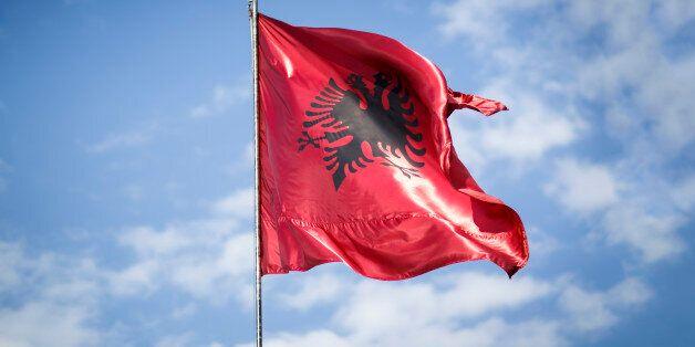 Tirana, Albania - March 27: National flag of Albania on March 27, 2017 in Tirana, Albania. (Photo by...