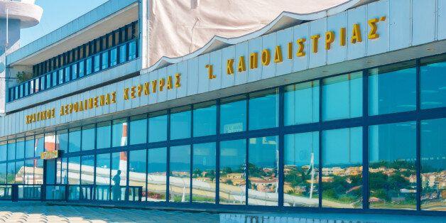 CORFU, GREECE - JUNE 30, 2011: Modern building of Kerkyra airport and