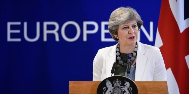 Britain Prime minister Theresa May speaks to the press at the end of a two day EU leaders summit at the...