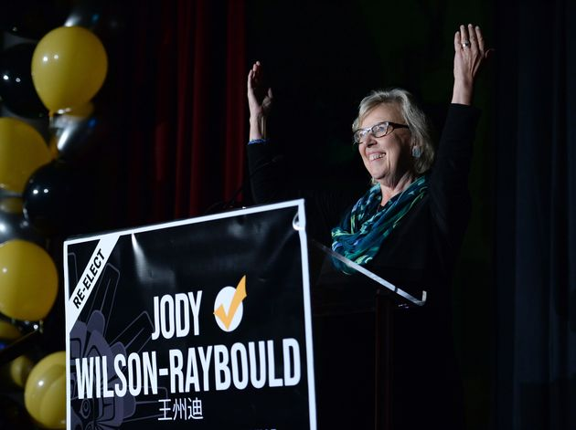 Green Party Leader Elizabeth May introduces Independent candidate Jody Wilson-Raybould in Vancouver on...