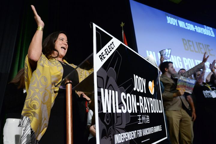 Independent candidate Jody Wilson-Raybould arrives at her campaign event in Vancouver on Sept. 18, 2019.