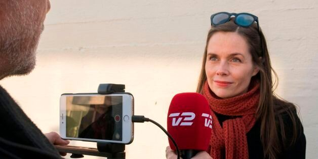 Chairperson of the Left-Green Movement Katrin Jakobsdottir gives an interview during the election on...