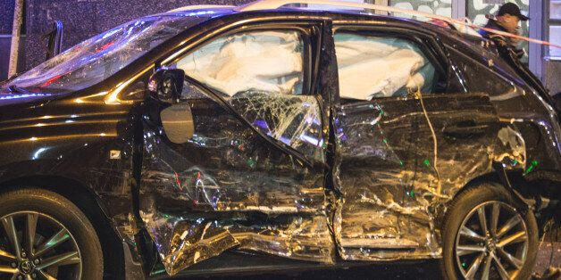 ***GRAPHIC CONTENT*** A car that hit a pedestrian during a violent car accident in Kharkov, Ukraine on...